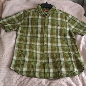 Merrell Short Sleeve Button Up Plaid Green Sz M